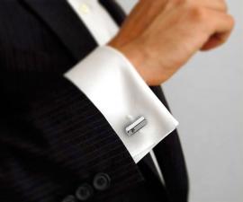 gemelli in acciaio - LeCuff Gemelli per camicia barra esagonale con Swarovski da polso