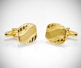 gemelli per matrimonio LeCuff, Gemelli per camicia diagonale a onda da polso dorati