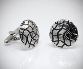 gemelli in acciaio LeCuff, Gemelli per camicia griglia onde da polso