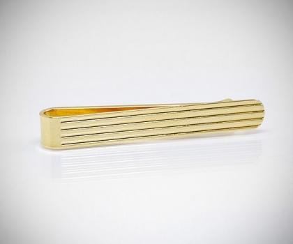 Fermacravatta dorato righe orizzontali