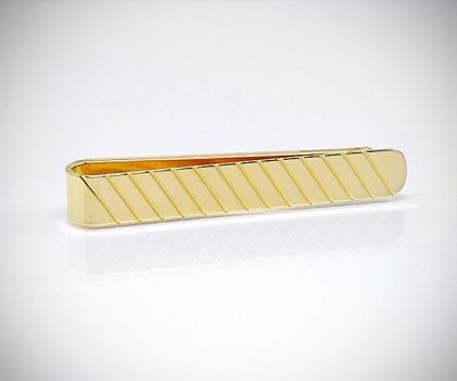 Fermacravatta dorato righe diagonali