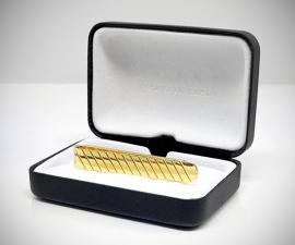 Fermacravatta dorati - LeCuff Fermacravatta oro righe diagonali LeCuff