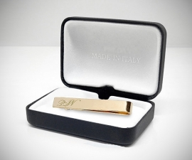 Personalizzati - LeCuff Fermacravatta personalizzati oro con incisione iniziali logo cifre incise dorati