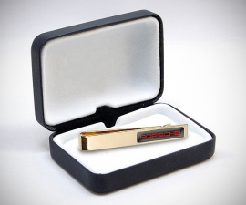 Fermacravatta dorati - LeCuff Fermacravatta personalizzati in resina dorati stampa foto iniziali logo